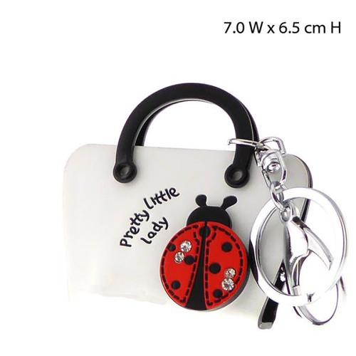 Key ring - white Handbag  with 3D ladybird