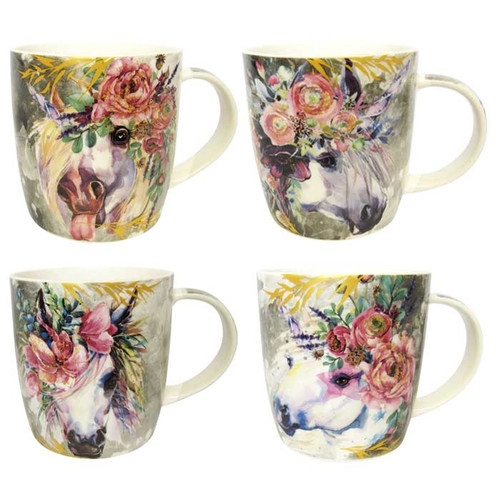 Collection of Floral Unicorn Mugs (4 patterns to collect)