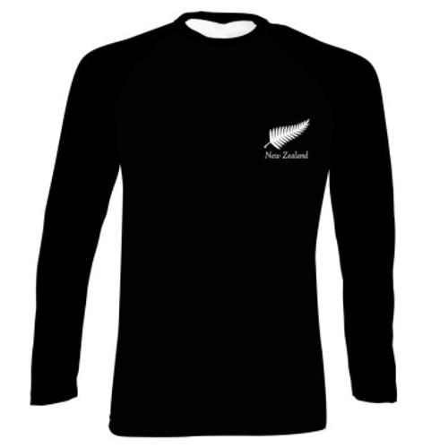 NZ Silver Fern on Black Long Sleeve Kiwiana T-Shirt