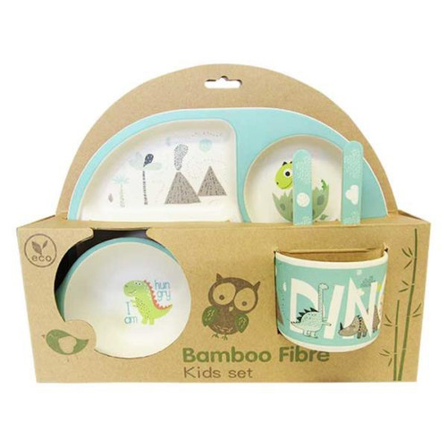 Bamboo Kids Picnic / sectioned plate, bowl, cup, cutlery set