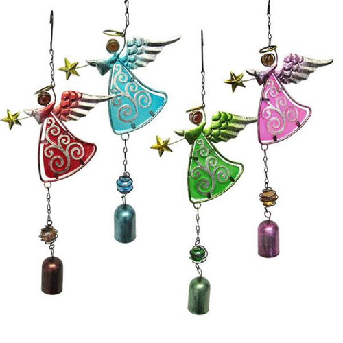 Garden Glass Angel with bell (comes in 4 colours)