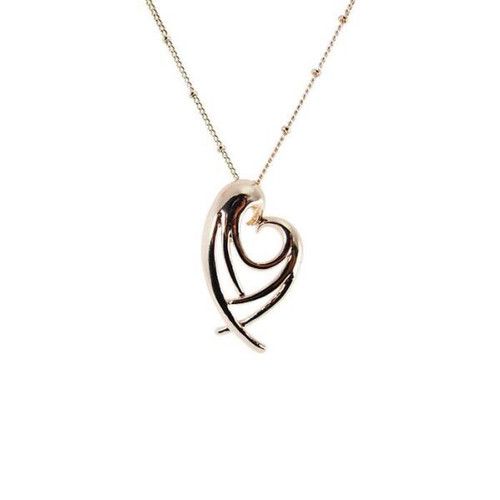 Angel Wing Heart pendant in rose gold or rhodium white