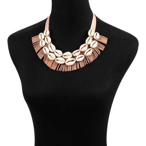 Shell necklace with double row of shells
