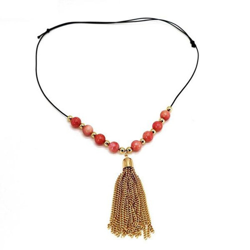 Natural Stone beads with tassle necklace