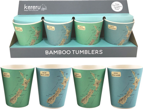 set of 4 x bamboo tumblers with NZ map