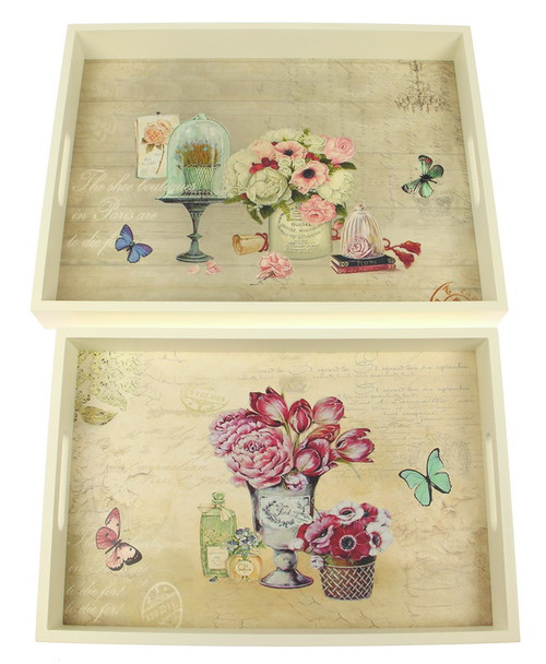 trays with flower pattern