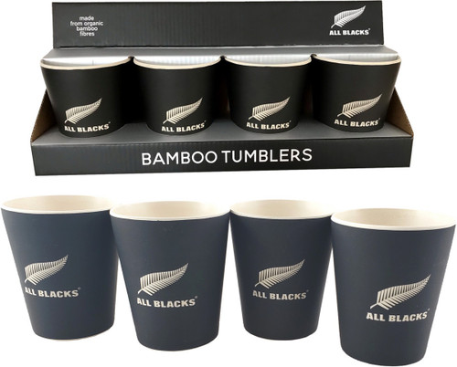 set of 4 x bamboo tumblers with All Blacks design