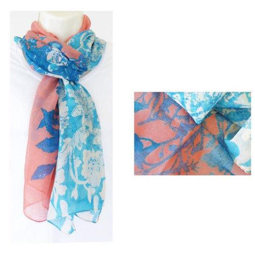 Turquoise and Coral Scarf