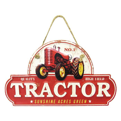 vintage tin style tractor sign