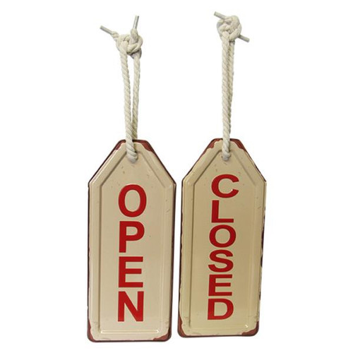 retro open / closed tin swing tag sign