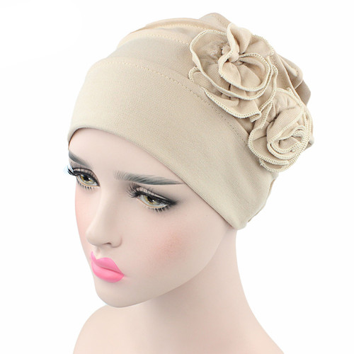 2 flowers on a cotton and spandex stretch hat (various colour options)