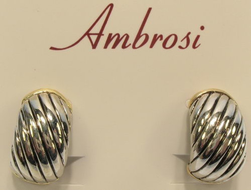 silver hoop earrings with gold ends