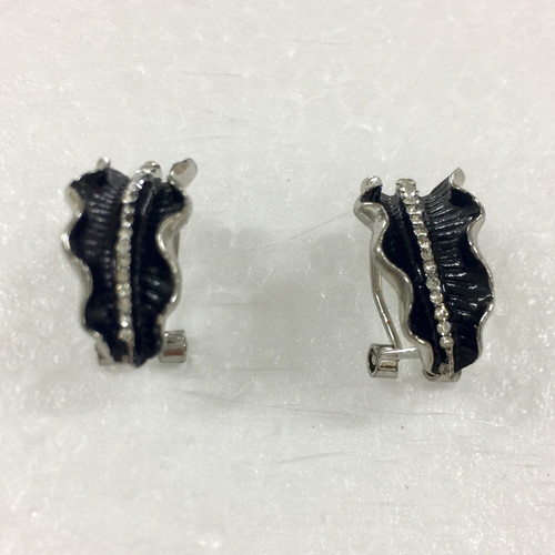 Black and diamante wave edge earrings