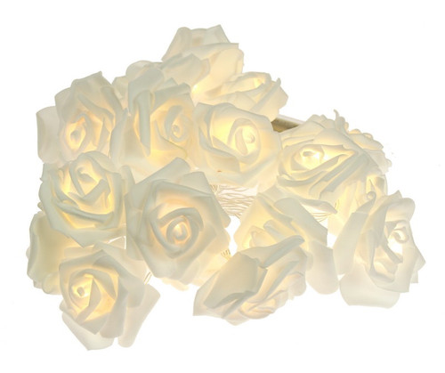 battery operated 3m long LED lights in roses - comes in ivory white or peach pink ivory
