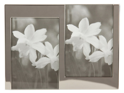"""silver plated photo frame to fit two x 4""""x6"""" photos"""