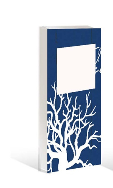 Photo Frame for a 3x3 photo set into a wooden blockdeep blue with coral painted on it.