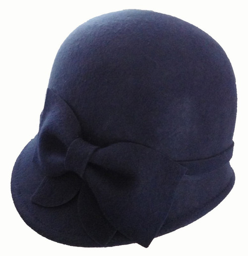 100% wool felt Cloche hat with bow