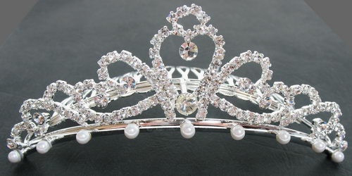 art deco style comb tiara silver, diamante and pearl