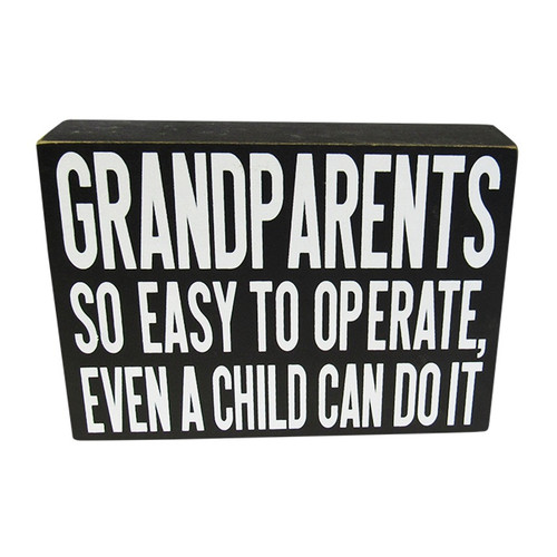 Grandparents word art block sign for wall or shelf