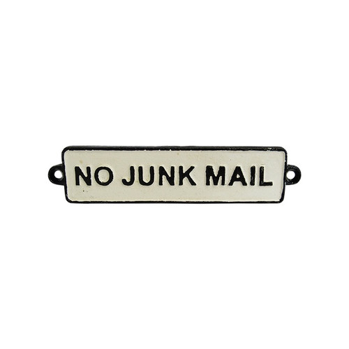 "rustic cast iron sign ""No Junk Mail"""