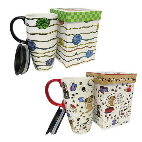 17oz Ceramic Mug with decorative box. Cup is microwave and dishwasher safe
