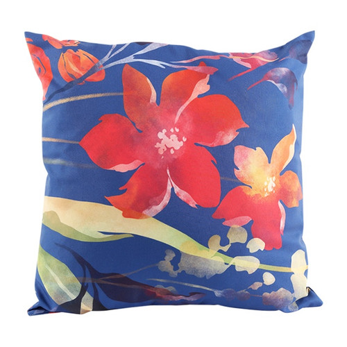 lillies on blue cushion