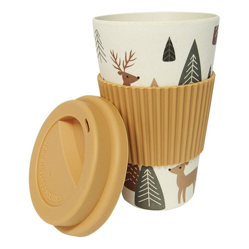 re usable Bamboo travel mug with stag / reindeer pattern