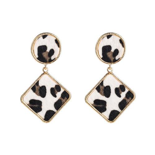 black and white animal print earrings