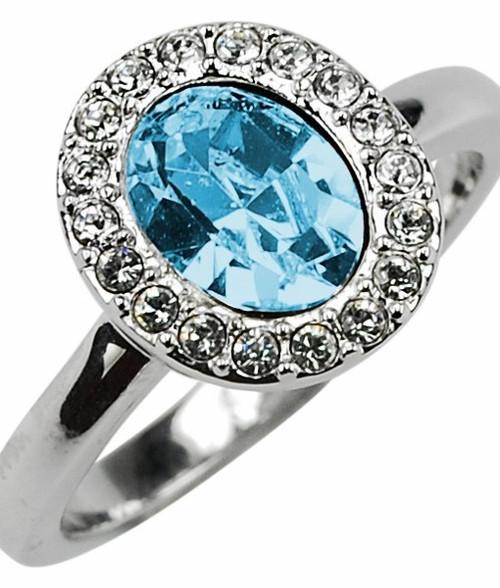 Adriana - Oval Halo Ring Aqua R S18