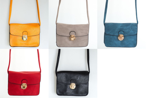 Cross body Handy bag with buckle in various colours