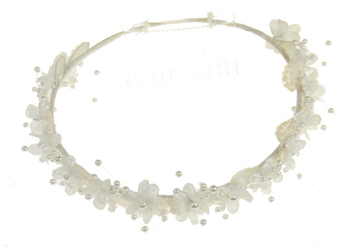 Ivory Circlet hair piece with comb v.01