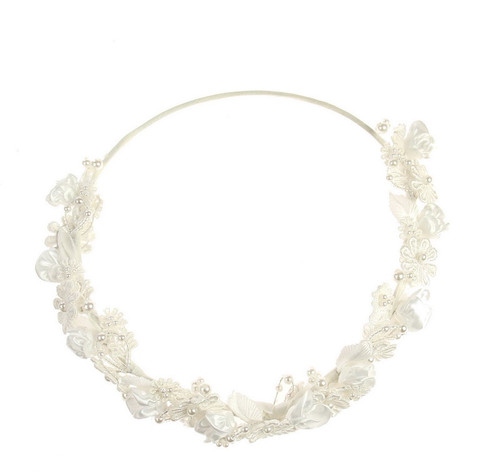 white lace circlet hair piece with comb