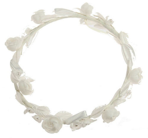 white full circlet hair piece with comb
