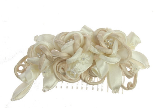 Champagne and Ivory fabric floral hair piece with comb