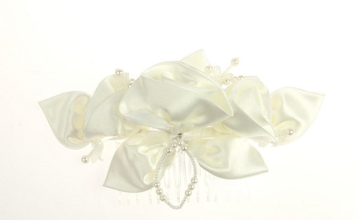 Ivory floral hair piece with comb