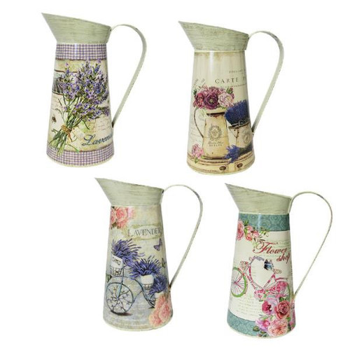 Country Chic theme decorative tin jugs (several designs available)