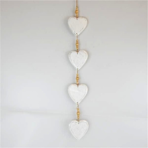garland of white washed wooden hearts