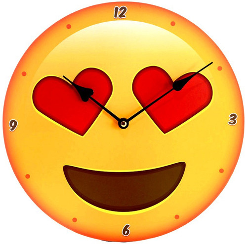 smiley emoji face with love heart eyes - clock