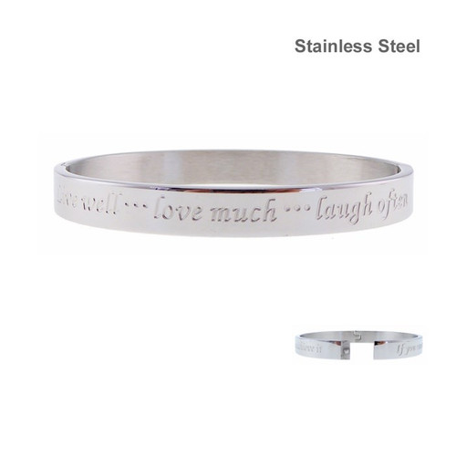 stainless steel bracelet with inscription - Live well ... Love much ... Laugh often.