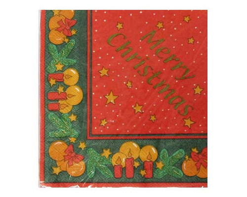 Paper Napkins - red with Merry Christmas and candle border