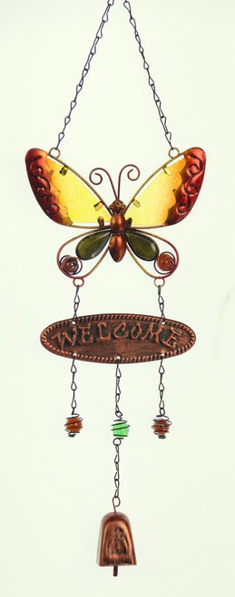 welcome butterfly wind chime