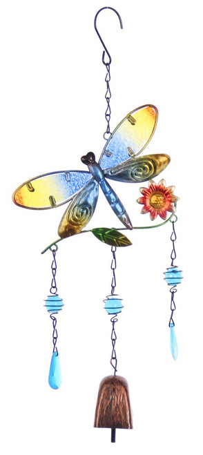 Dragonfly wind chime with 3 drops and bell