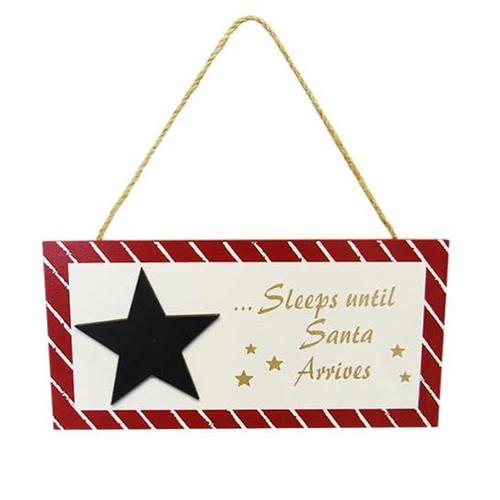 """... sleeps till santa arrives"" - hanging sign"