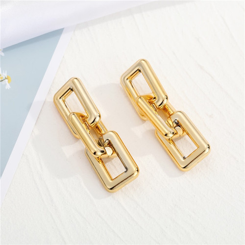 Gold coloured rectangle chain link earrings from posts