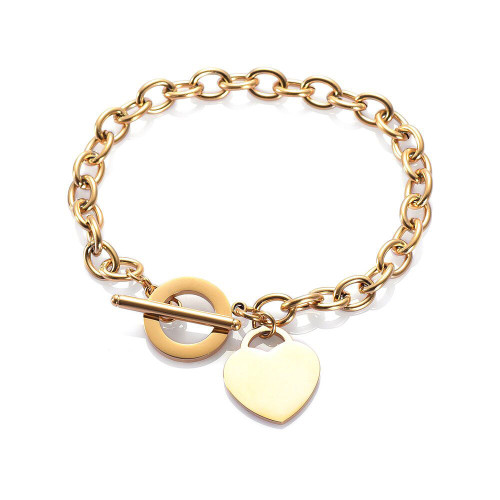 stainless steel bracelet with fob chain fastener and heart charm (comes in 3 metal colours)