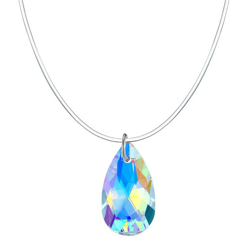 zircon teardrop shaped pendant on invisible cord necklace