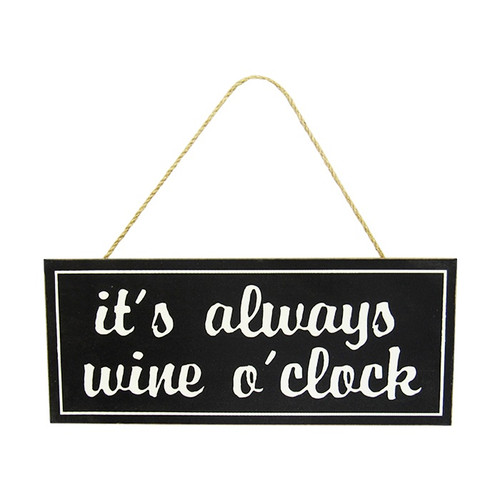 Black and white - wine hanger : It's always wine o'clock