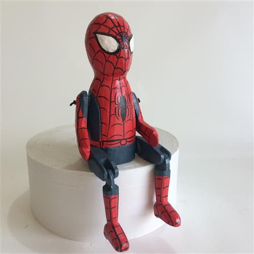 hand carved wooden Spiderman figurine