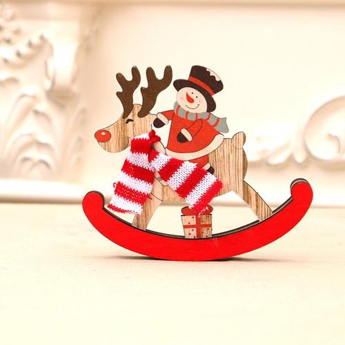 desktop wooden Snowman on Reindeer rocker