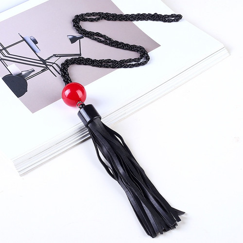One piece black chain necklace with red bead and black pu leather tassel